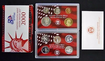 U.S. SILVER PROOF SET 2000 S Complete Packaging COA's