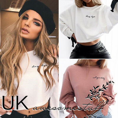 UK Womens Christmas Long Sleeve Jumper Top Ladies Cropped Sweater Size 6 - 14
