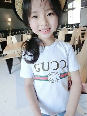 T shirt kids GG unbranded logo flower embroidery