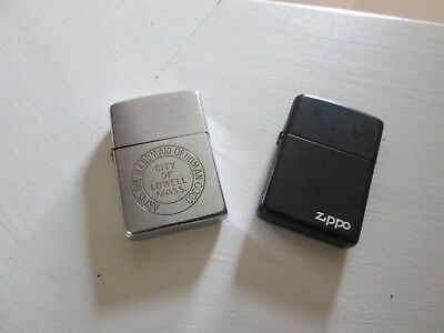 Lot Of Two Vintage Zippo Lighters - Advertising -Silver Tone & Black
