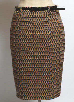 Massimo Art Deco Style Pattern Pencil Skirt with belt size 4 small