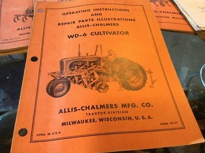Allis Chalmers WD Tractor 6 Cultivator Manual Book
