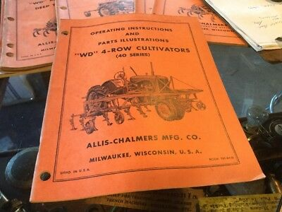 Allis Chalmers WD Tractor 4 Row Cultivators Cultivator Manual Book