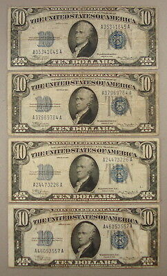 Lot of (4) 1934 Fr. 1701 $10 Silver Certificates F