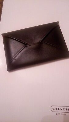 100% AUTHENTIC Coach Black on Red RARE! Folded Envelope Business Card Holder