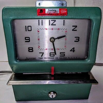 Vintage ACROPRINT TIME RECORDER Clock Model 125RR4 Working Time Clock Manual WOW