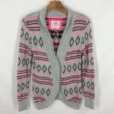 Justice Girls Cardigan Size 16 Open Silver Gray Pink Sparkle Black Cotton Wool