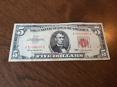 1963 $5 Five Dollar Bill United States Note Circulated Red Seal