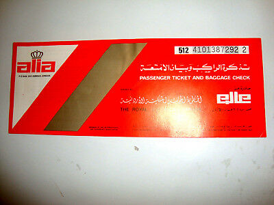 ALIA ROYAL JORDANIAN AIRLINE PASSENGER TICKET AND BAGGAGE CHECK. ancien billet