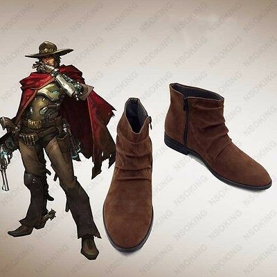 New Game Jesse Mccree Cosplay Boots Anime Shoes Custom Made