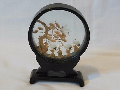 """Vintage Chinese Carved Cork Diorama Tree's Cranes In Black Lacquer Stand 4"""" Tall"""