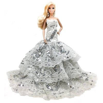 "Softly layered Dazzling Sequins strapless lace tulle ball gown for 11.5"" Doll"