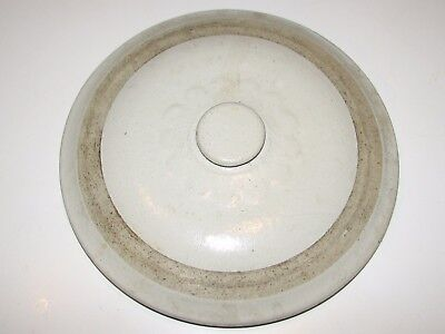 """Vintage  10 1/2"""" Petal Button Stoneware Crock Lid Only Red Wing?"""