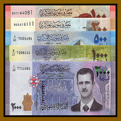 Syria 100- 2000 Pounds (5 Pcs Set), 2009-2015 P-113/114/115/116/New Unc