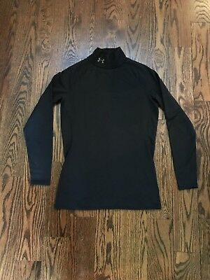 Womens Under Armour Shirt Long Sleeve Black Size Small Thick Warm Coldgear Mock