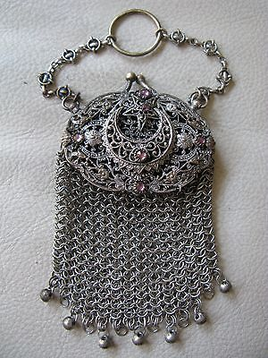 Antique Star Crescent Moon Silver Pink Jewel Chatelaine Mesh Coin Purse 1800s