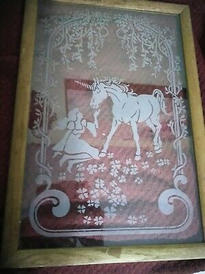 Vintage Antique hanging Etched Glass Panel of girl and unicorn