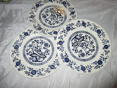 "3 New Royal Wessex England Blue Onion 25cm 10"" Dinner Plates"