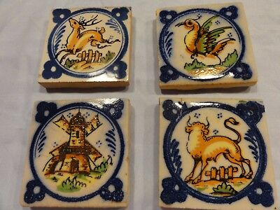 Lot of 4 Vintage/Antique Painted Tiles , Reclaimed , 2 3/4 inch by 2 3/4 inch