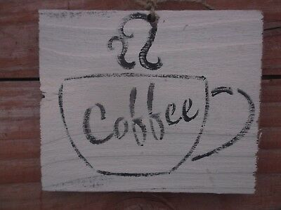 Coffee sign vintage Weathered farmhouse wood primitive barnwood cup love steam