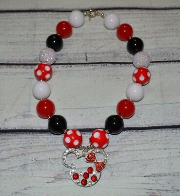 Red Minnie Mouse Chunky Bead Necklace/Minnie Mouse Bubblegum Necklace