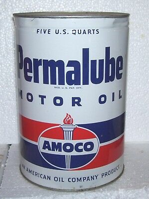 AMOCO Permalube  5 quart  oil can - very nice both sides-has top and bottom