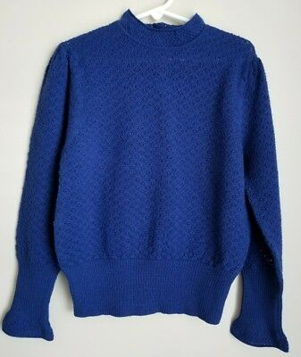 Caramel Baby and Child Girl's Size 8 Royal Blue Textured Mock Neck Wool Sweater