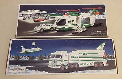 Hess NIB  1999 Toy Truck & Space Shuttle w/Satellite, 2001 Helicopter w/Cruiser