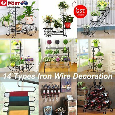 Iron Wire Bicycle Flower Mannequin Pot Cart Plant Garden Metal Planter Stand DIY