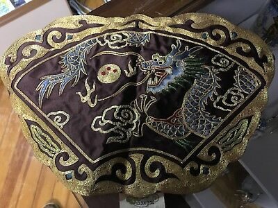 Beautiful Vintage Chinese Hand Embroidery Silk Dragon GOLDEN CLOUD