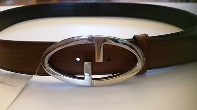 NWT Women's Gucci Brown Leather Belt w/ Two-Tone Double G Buckle AUTHENTIC