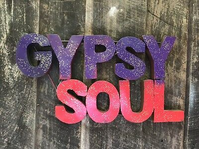 """Metal 3D Sign """"Gypsy Soul"""" Red/Purple & Gold- Wall Art- Retro"""