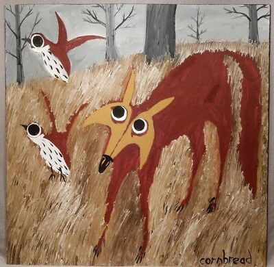 "Large Whimsical Folk Art Painting of Fox and Quail by John ""CORNBREAD"" Anderson"