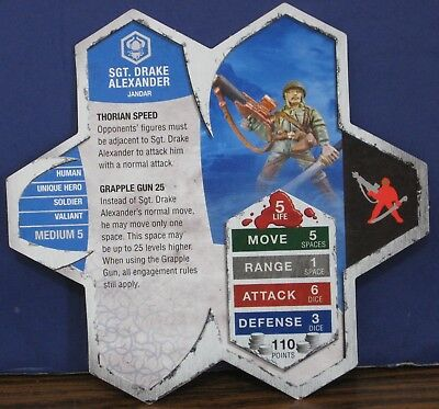Heroscape Army Card - Sgt. Drake Alexander - Rise of the Valkyrie - 13 of 16