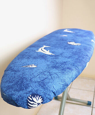NEW EZY IRON Double Sided Reversible Padded Ironing Board Cover Covers ocean