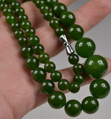 Chinese ORIENTAL VINTAGE GREEN JADE BEADS NECKLACE