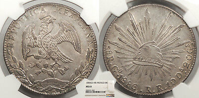 MEXICO 1886-Go RR 8 Reales NGC MS-61