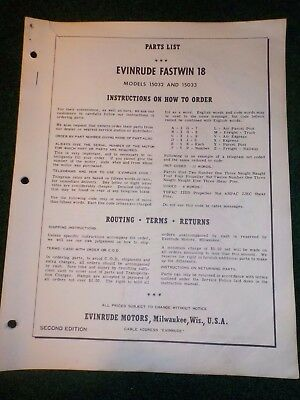 1960 Evinrude Outboard Parts Catalog Manual 18 HP Fastwin DEALER FACTORY