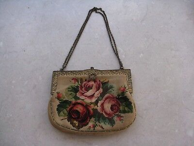 Antique/Older vintage Needlepoint Floral Decorated Brass Bag