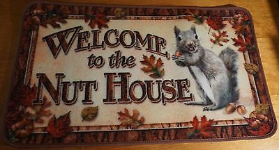 WELCOME TO THE NUT HOUSE Squirrel Cabin Lodge Home Decor Kitchen Rug Door Mat