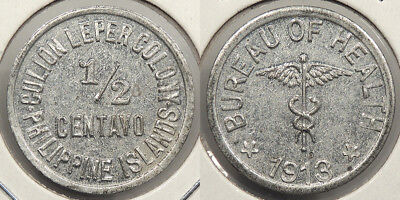 PHILIPPINES: Culion Leper Colony 1913 1/2 Centavo Token coinage #WC74463
