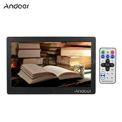 """Andoer 10"""" HD LCD Digital Photo Picture Frame Clock MP3 MP4 Video Player D5H1"""