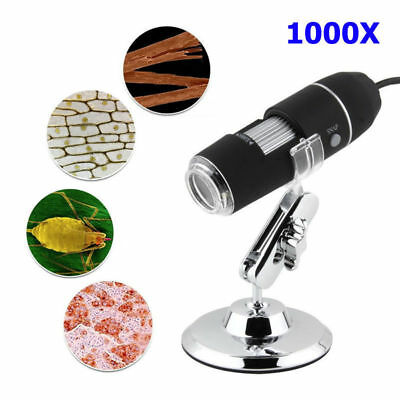 8LED 1000X USB 2.0 Digital Microscope Endoscope Zoom Camera Magnifier+Stand 2MP
