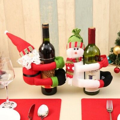 Christmas Ornaments Retro Xmas Wine Beer Bottle Cover Party Dinner Table Decor