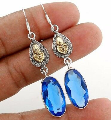 "22CT Two Tone- Sapphire 925 Solid Sterling Silver Earrings Jewelry 2 1/3"" Long"