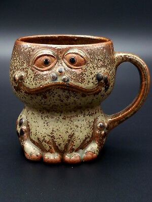 Antique Japanese Frog Cup Clay Mystery Artist crafted in Japan
