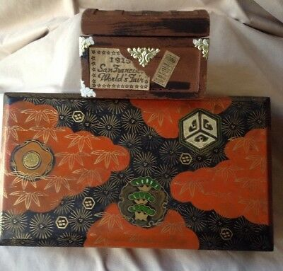 Japanese Edo Period Lacquer Tea Caddy Box W /Tokugawa Shogun Family Crest