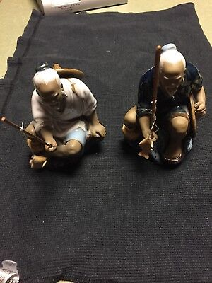 Old Chinese Fishing Mud Man Figurine w/pole & fish on the line  -  Made in China