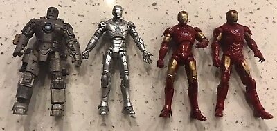 "Marvel Iron Man Mark 1 Mark 2 Mark 3 Mark 6 Lot Of 4 Action Figures 4"" Scale"