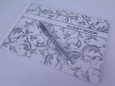 Guest Book 250 x 160mm Silver Line Work 64P Hard Cover Ozcorp GBK02 FREE POST
